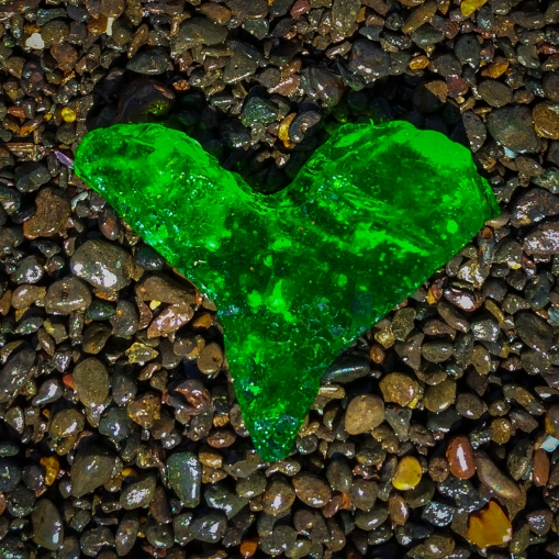 green sea glass heart